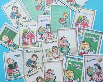 Back to School Stickers - Set of 18 - Handmade Stickers, Vintage Style, Vintage School, Cute Planner Stickers, Cute Children, School, ABC