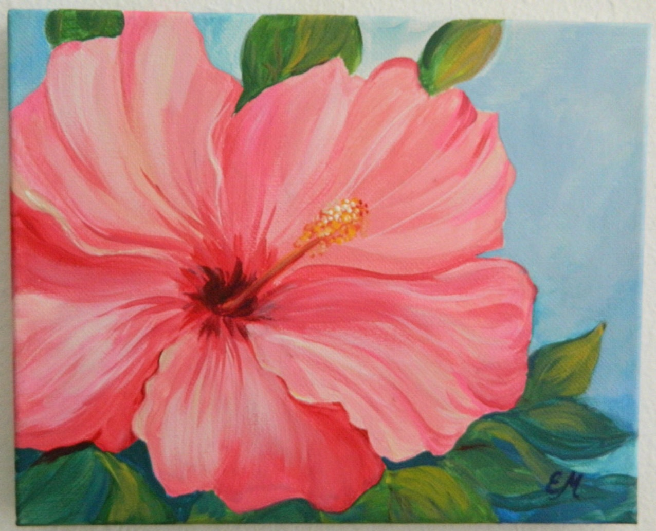 Original hibiscus painting pink hibiscus canvas flower zoom mightylinksfo