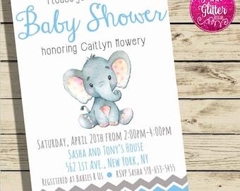 Elephant Baby Shower Invite,  Elephant Baby Shower, Jungle Baby Shower Invitation,  Jungle Shower, Elephant Shower, Baby Boy Shower