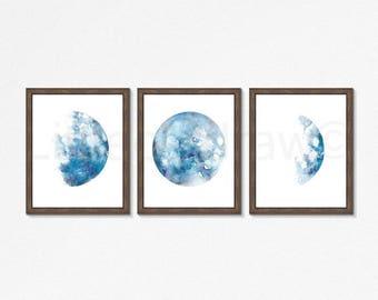 Moon Phase Print Set Of 3 Watercolor Painting Print Wall Art Home Decor Lunar Luna Moon Print Living Room Decor Celestial Art Prints