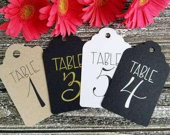 Wedding table number tags, bridal shower, baby shower, fundraiser table number tags, rustic table numbers, outdoor wedding, handlettered tag
