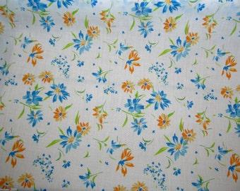 Blue Orange Floral - Polycotton Fabric Dress/Craft Fabric