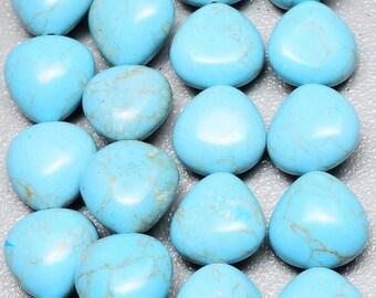 Blue Howlite Turquoise Puffed Bead 19mm Gemstone Beads  Full Strand  19mm Focal Beads