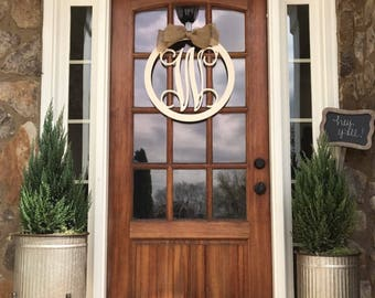 Monogram Door Hanger Monogram Door Wreath Initial Door Hanger Wooden Monogram Wooden : door monogram - pezcame.com