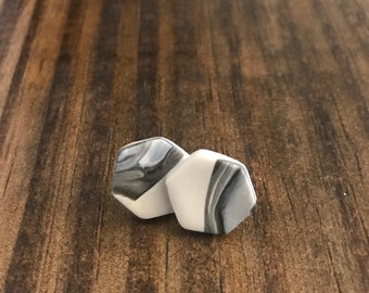 Grey, Black and White Split Marbled Clay Hexagon Stud Earrings