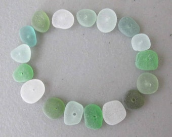 GENUINE Drilled Sea Glass Lot  - Sea Glass Jewelry Making - Beach Glass Supply