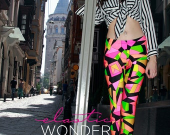 Kaleidoscope Printed Pucciesque Spandex Nylon Leggings Tights