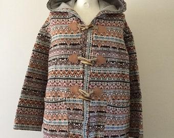 Cotton Jacket for Women Boho Hippie Festival Folk Jacket Colorful Hoodie Hooded Jacket Boho Ethnic Clothing Light Coat
