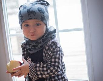Hat slouchy beanie - baby-child - autumn Hat - reversible -
