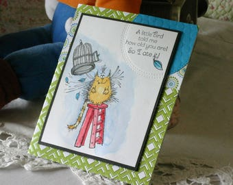 "Humorous ""A Little Bird Told Me"" Birthday Card Handmade"
