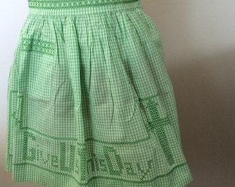 Vintage Apron Green Gingham