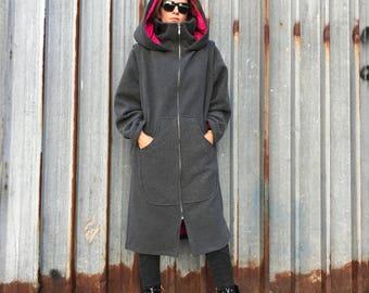 Hooded Coat, Women Winter Coat, Oversized Coat, Maxi Coat, Wool Coat, Warm Coat, Hooded Hoodie, Elven Clothing, Long Coat, Cape Coat