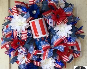 Patriotic wreath summer wreath Uncle Sam wreath deco mesh wreath top hat wreath red white and blue