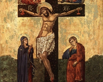 THE CRUCIFIXION 8x10 Religious Art Icon Print Picture from Italy