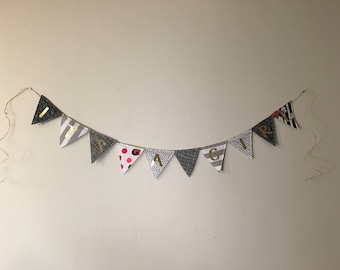 Ready to ship reversible It's A Girl banner / Nursery decor / Baby Shower decor / black pink gray white bunting / baby girl bunting