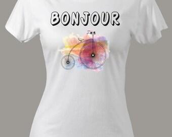Bonjour Women's SLIM FIT T-shirt Bonjour Tshirt Bonjour Paris French Funny Vintage Amore