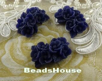 373-00-CA  8pcs Pretty Rose Cabochon - Navy Blue