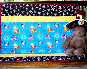 """Disneys Jake in Netherland Pirate Quilt 38""""Wx38""""L  baby crib bedding toddler napping stroller pirate blankets *Perfect Gift"""