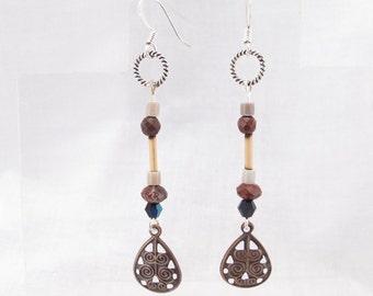 Earrings-boho style-faceted jasper-bamboo-marble-crystals-funky little dangle-wildwood beadworks-everyday earring-unique OOAK-lightweight