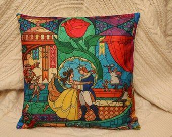 princess belle beauty and the beast stain glass inspired cushion cover 45 by 45 cm beautiful gift
