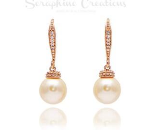 Rose Gold and Peach Pearl Earrings, Bridal Jewelry, Swarovski Pearls Cubic Zirconia Wedding Jewelry Bridal Earrings Bridesmaid Gifts K041RG