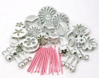 47 Pieces DIY Cake Decorating Sugarcraft Plunger Cutters Fondant Mold Tools N175