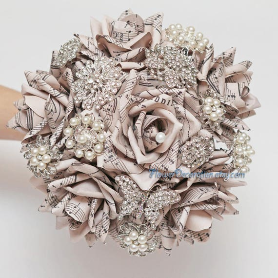Sheet music brooch bouquet paper flower brooch bouquet wedding mightylinksfo