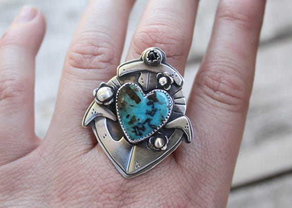 Sailor Jerry Collection Anchor Ring With Sterling Silver, Kingman Turquoise, & Black Onyx