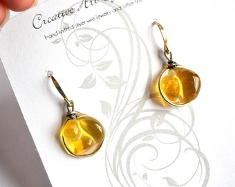 Amber Yellow Genuine Sea Glass Silver Circle Resin Drop Mosaic Earrings