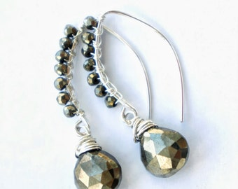 o   r   o   . . . . . .  recycled sterling silver & pyrite wire wrapped earrings; faceted pyrite; pyrite earrings; metallic earrings