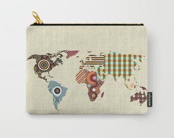 World Map Coin Purse, World Map Pouch, World Map Wallet, World Map Gifts, Zipper Bag Purse, World Map Gift, World Map Purse
