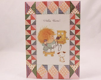 Vintage Drawing Board Li'l Shavers. Hello There Greeting Card and Envelope