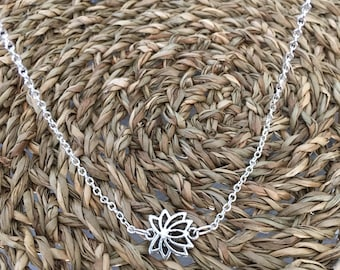 Silver Lotus Flower Chain Necklace