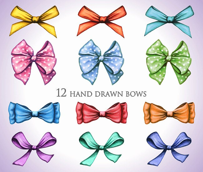 bow clip art hand painted watercolor gift bows clipart 12 ribbon rh etsystudio com bows clipart pink hair bows clipart