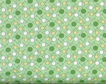 Sweet White, Yellow and Green Dots on Light Green Cotton Quilt Fabric, Berries & Blossoms by Maywood Studios, Fat Quarter, MAS8841-G