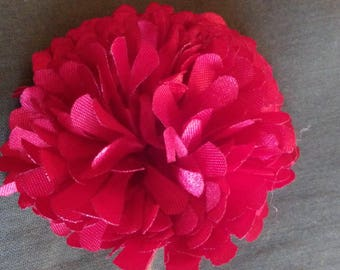Brooch to pin, Red satin flower