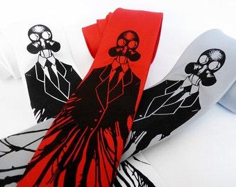 Gas Mask Necktie, Neckties for Men, Boyfriend Gift, Husband Gift, Post Apocalyptic Clothing, Geek Gift - Dressed for Apocalypse Mens Necktie