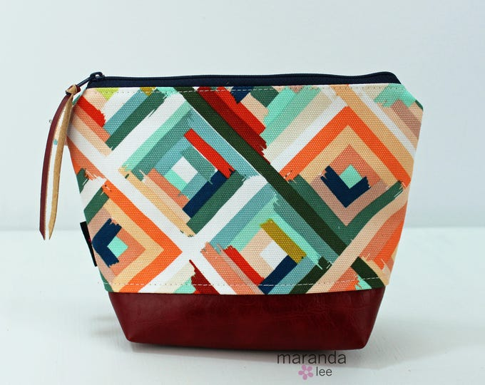 AVA Clutch Medium - Roadway with Red PU Leather READY to SHIp