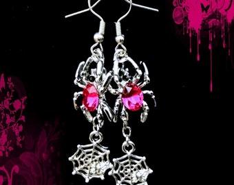 50% SALE Halloween Jewelry..Spider Web Earrings..Hot Pink Spider Earrings..Silver Spider Earrings..Pink Gothic Earrings..Hot Pink Earrings