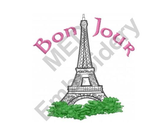 France Machine Embroidery Design Eiffel Tower Bon Jour