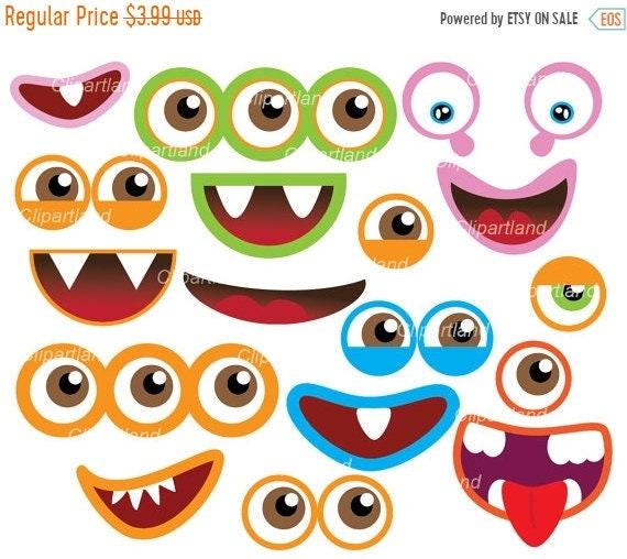 on sale instant download monster eyes and monster mouths rh etsy com  monster eyeballs clipart