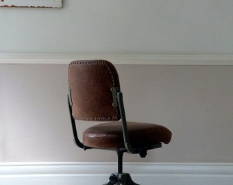 Vintage Industrial Leather Workers Chair 1961