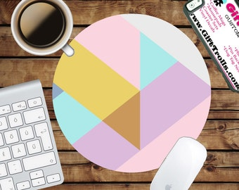 Pastel Geo Circle Mouse Pad - Mousepad - CoWorker Teacher Gift - Geometric - Triangles - Pastel Colors - Pink - Blue - Yellow - Purple