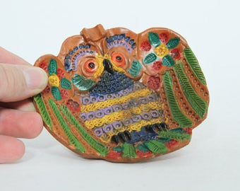 Vintage Owl Dish, Ceramica Marquez, Bright Colorful Ceramic Bird Tray
