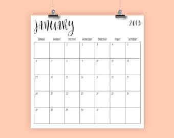 Square 2019 Calendar Template | INSTANT DOWNLOAD | Handwritten Script Large Monthly Printable Minimal Desk Calender | Prints 12 x 12 Inches