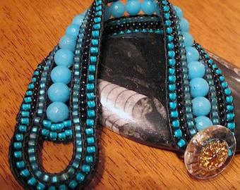 Blue Jade Leather Bracelet