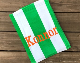 Beach Towel-Monogrammed Beach Towel-Boys Monogram Beach Towel-Pool Towel-Green Stripped Towel-Personalized Beach Towel