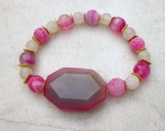 Agate bracelet, hot pink stone bracelet, fucshia beaded bracelet, elastic gemstone bracelet, chunky stone bracelet, frosted agate bracelet