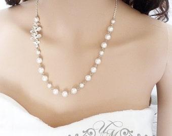 Wedding Necklace Swarovski Pearl Orchid flower Necklace Bridal Necklace Bridesmaids Necklace Bridal Jewelry Bridesmaids Jewelry