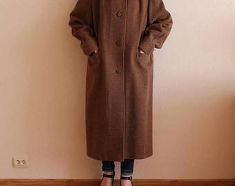 ON SALE 20% OFF Women's Coat Vintage Coat Brown Women Coat Brown Wool Coat Womens Winter Coat Button up  Lining Mink Fur Collar Soviet Era D